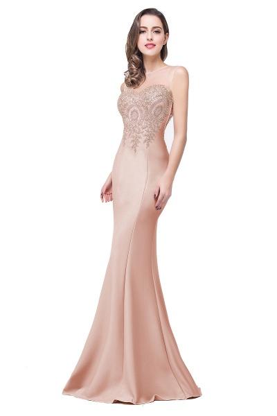 Mermaid Floor-Length Sheer Prom Dresses with Rhinestone Appliques_2
