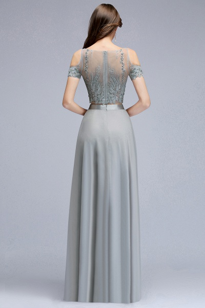 Two-piece Appliqued Chiffon A-line Evening Dresses_2