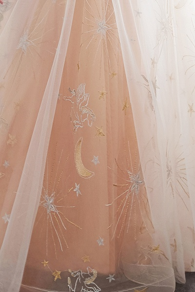 Champangne A-line Sleeveless Long Tulle Appliques Evening Dresses with Sash_10