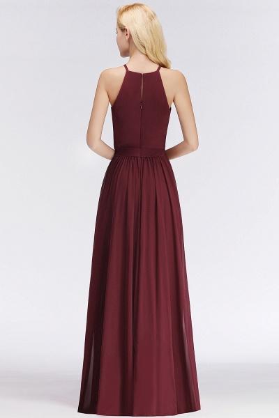 Burgundy Halter A-line Sleeveless Long Ruffles Chiffon Bridesmaid Dresses_3