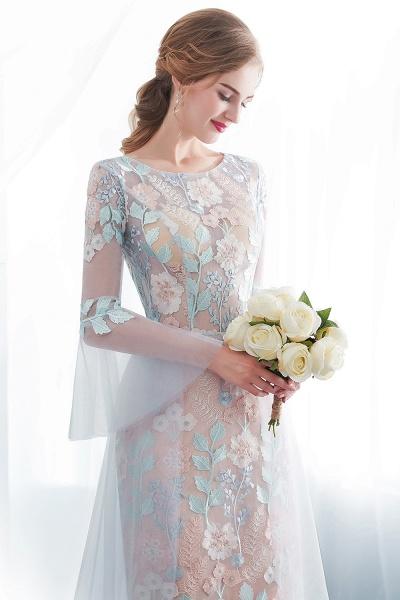 Sheath Long Sleeves Sheer Neckline Appliqued Flowers Evening Dresses_4