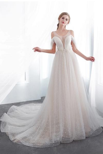 Lace A-line Sleeveless Floor Length Wedding Dresses_5