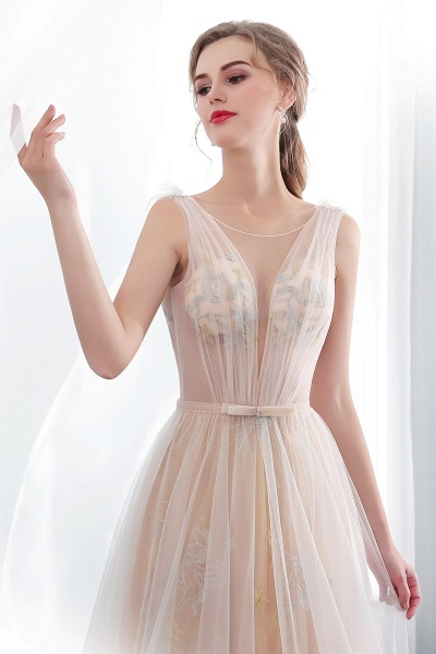 Champangne A-line Sleeveless Long Tulle Appliques Evening Dresses with Sash_4