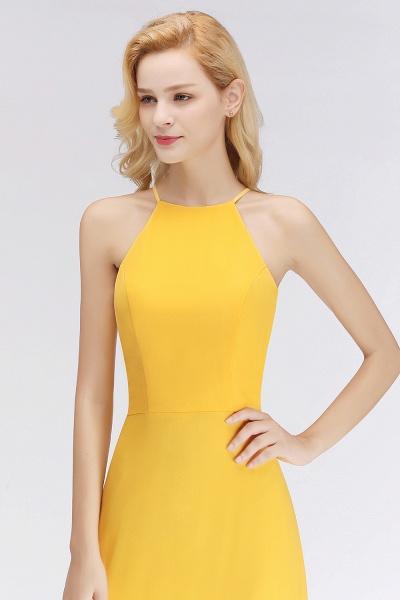 Yellow A-line Halter Sleeveless Floor Length Bridesmaid Dresses_6