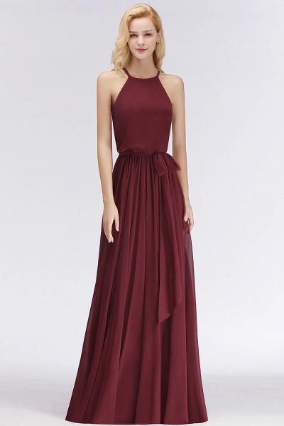 Burgundy Halter A-line Sleeveless Long Ruffles Chiffon Bridesmaid Dresses_5