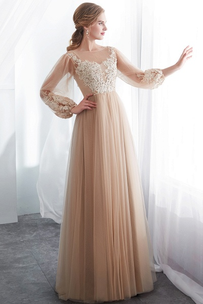 Champagne A-line Long Sleeves Appliques Tulle Evening Dresses_1