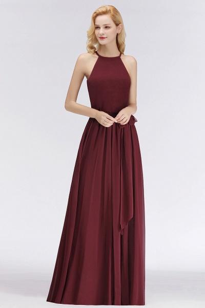 Burgundy Halter A-line Sleeveless Long Ruffles Chiffon Bridesmaid Dresses_8