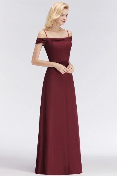 Burgundy A-line Floor Length Off-the-shoulder Bridesmaid Dresses_1