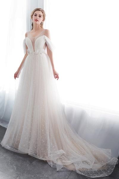 Lace A-line Sleeveless Floor Length Wedding Dresses_4