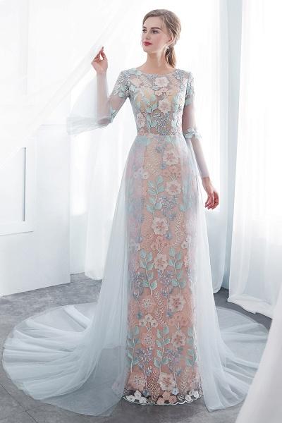 Sheath Long Sleeves Sheer Neckline Appliqued Flowers Evening Dresses_6
