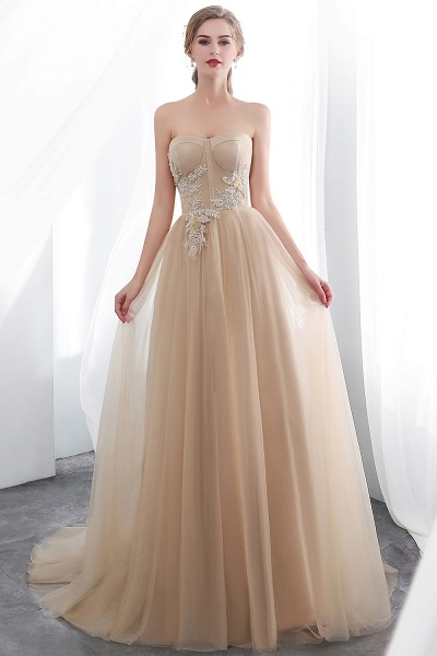 A-line Champagne Strapless Sweetheart Appliques Floor Length Evening Dresses_3