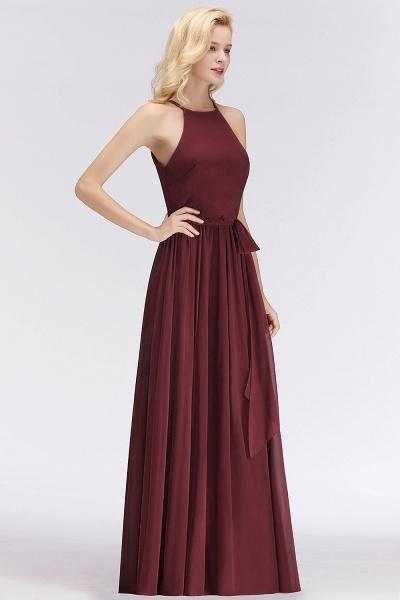 Burgundy Halter A-line Sleeveless Long Ruffles Chiffon Bridesmaid Dresses_6