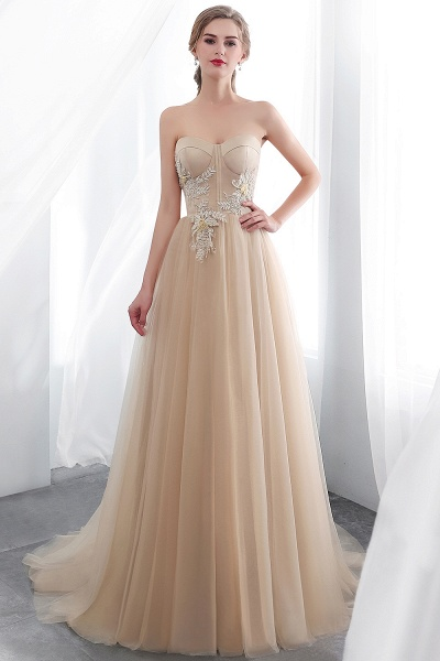 A-line Champagne Strapless Sweetheart Appliques Floor Length Evening Dresses_5