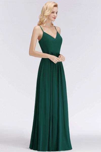 Spaghetti Straps A-line Floor Length V-neck Chiffon Bridesmaid Dresses_1