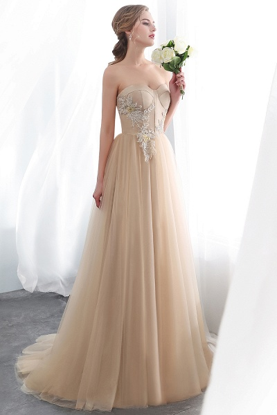 A-line Champagne Strapless Sweetheart Appliques Floor Length Evening Dresses_6