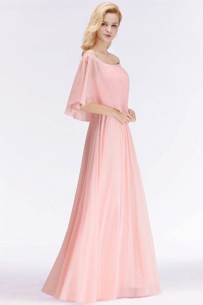 Pink A-line Long Off-the-shoulder Bridesmaid Dresses with Sleeves_2