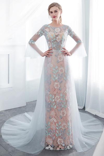 Sheath Long Sleeves Sheer Neckline Appliqued Flowers Evening Dresses_1