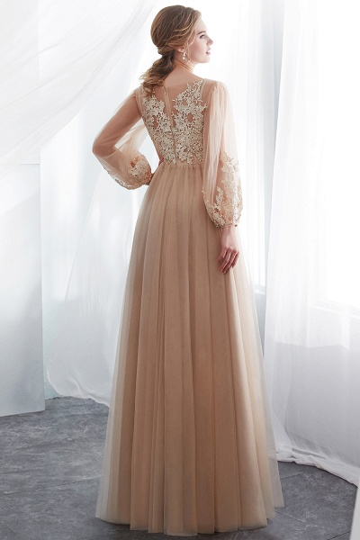 Champagne A-line Long Sleeves Appliques Tulle Evening Dresses_3