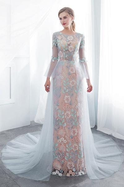 Sheath Long Sleeves Sheer Neckline Appliqued Flowers Evening Dresses_7
