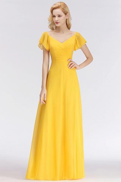 Chiffon A-line Long V-neck Short Sleeves Bridesmaid Dresses_7