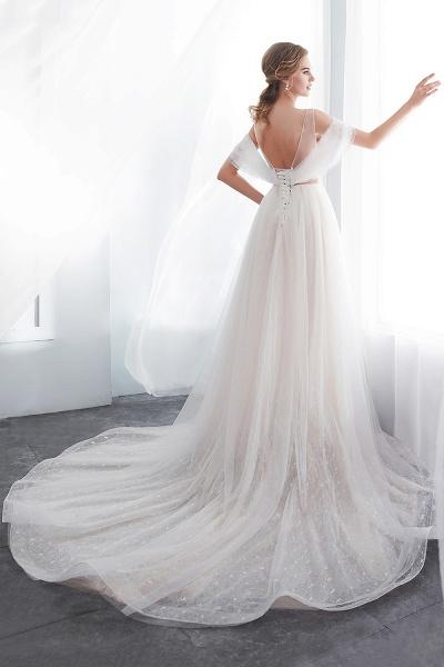 Lace A-line Sleeveless Floor Length Wedding Dresses_8
