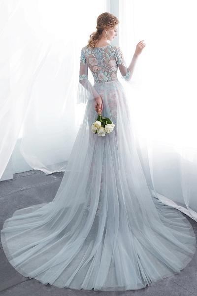 Sheath Long Sleeves Sheer Neckline Appliqued Flowers Evening Dresses_3