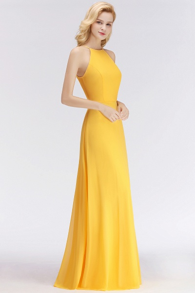 Yellow A-line Halter Sleeveless Floor Length Bridesmaid Dresses_7
