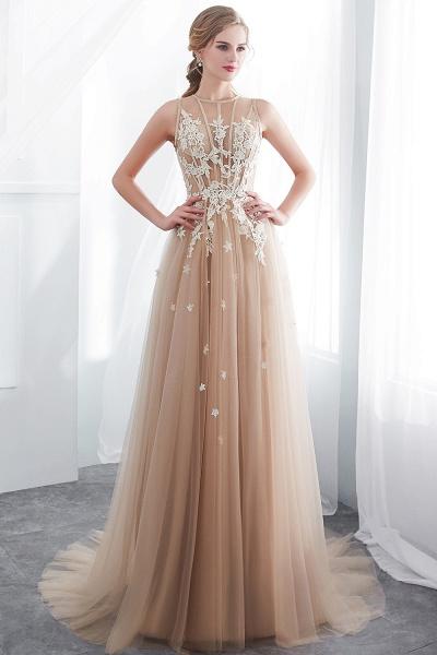 Aline Sleeveless Appliqued Tulle Floor Length Evening Dresses_1