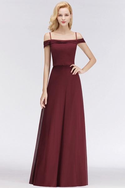 Burgundy A-line Floor Length Off-the-shoulder Bridesmaid Dresses_5