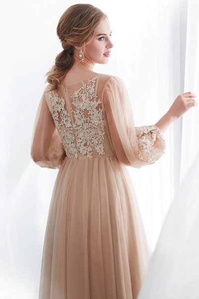 Champagne A-line Long Sleeves Appliques Tulle Evening Dresses_9