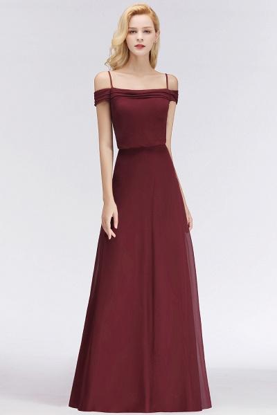 Burgundy A-line Floor Length Off-the-shoulder Bridesmaid Dresses_4