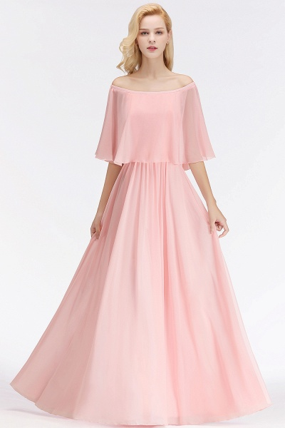 Pink A-line Long Off-the-shoulder Bridesmaid Dresses with Sleeves_7