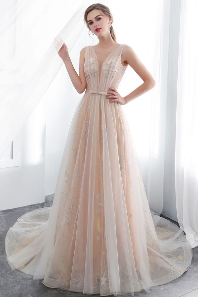 Champangne A-line Sleeveless Long Tulle Appliques Evening Dresses with Sash_5