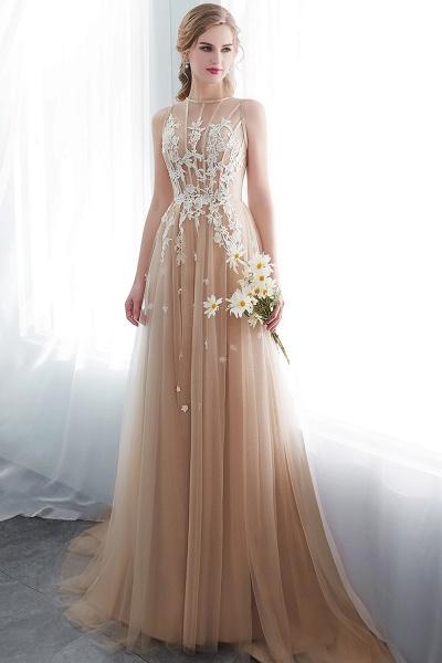 Aline Sleeveless Appliqued Tulle Floor Length Evening Dresses_6