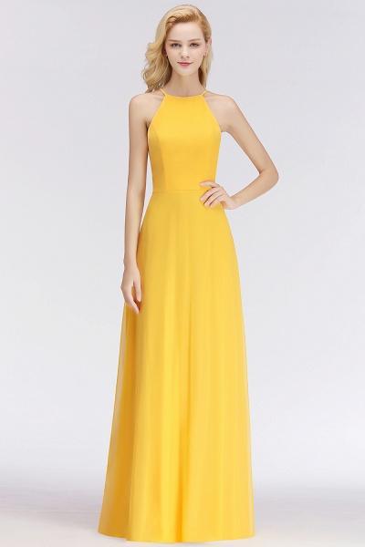 Yellow A-line Halter Sleeveless Floor Length Bridesmaid Dresses_5