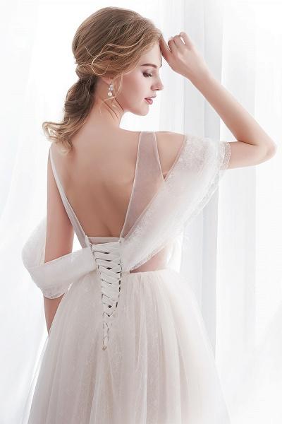 Lace A-line Sleeveless Floor Length Wedding Dresses_7