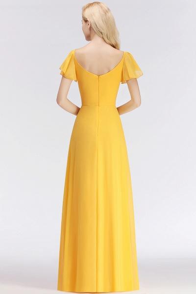 Chiffon A-line Long V-neck Short Sleeves Bridesmaid Dresses_3