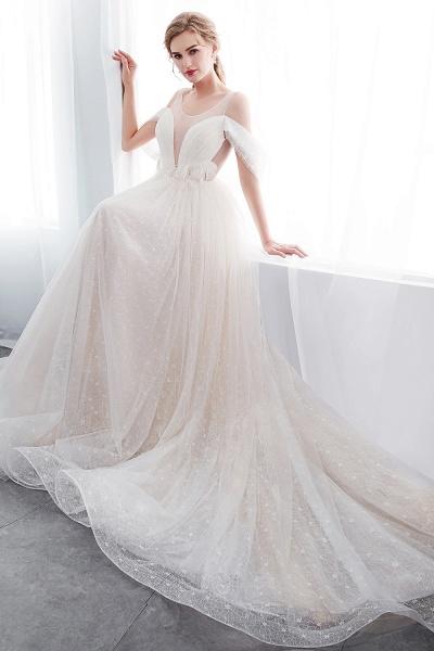 Lace A-line Sleeveless Floor Length Wedding Dresses_10