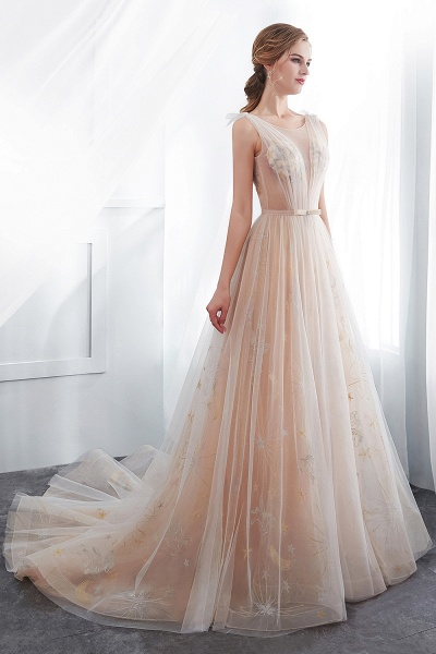 Champangne A-line Sleeveless Long Tulle Appliques Evening Dresses with Sash_7