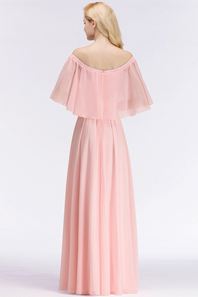 Pink A-line Long Off-the-shoulder Bridesmaid Dresses with Sleeves_3