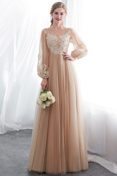 Champagne A-line Long Sleeves Appliques Tulle Evening Dresses_6