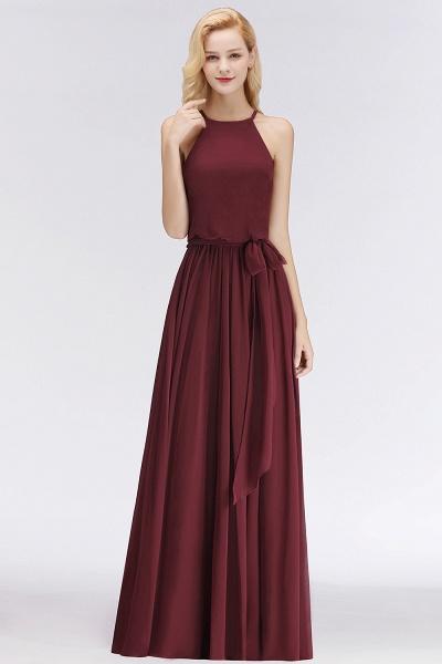 Burgundy Halter A-line Sleeveless Long Ruffles Chiffon Bridesmaid Dresses_1