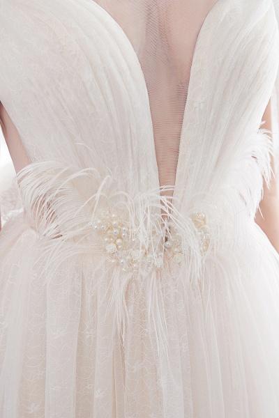 Lace A-line Sleeveless Floor Length Wedding Dresses_9