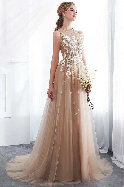 Aline Sleeveless Appliqued Tulle Floor Length Evening Dresses_5