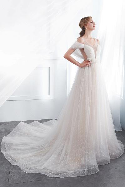 Lace A-line Sleeveless Floor Length Wedding Dresses_3