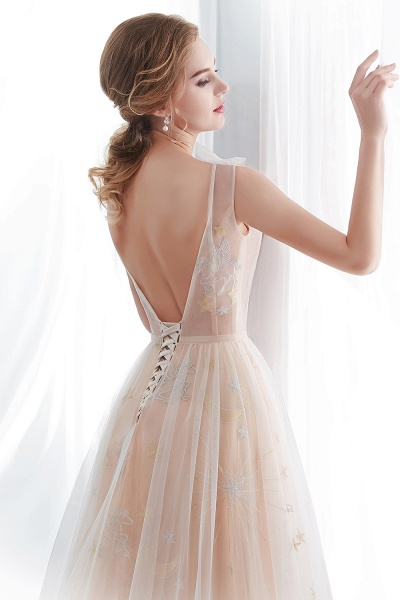 Champangne A-line Sleeveless Long Tulle Appliques Evening Dresses with Sash_8