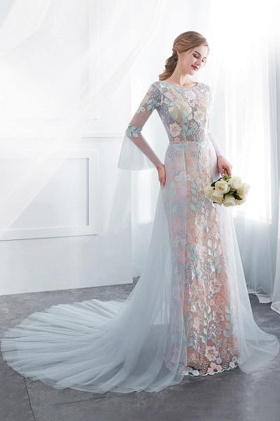 Sheath Long Sleeves Sheer Neckline Appliqued Flowers Evening Dresses_5
