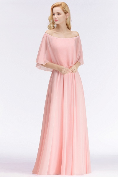 Pink A-line Long Off-the-shoulder Bridesmaid Dresses with Sleeves_4
