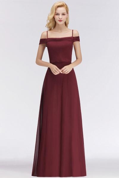 Burgundy A-line Floor Length Off-the-shoulder Bridesmaid Dresses_8