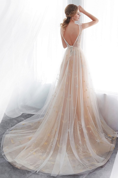 Champangne A-line Sleeveless Long Tulle Appliques Evening Dresses with Sash_3